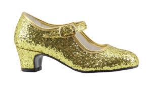 Taconcito de flamenca, zapato de feria, zapato dorado
