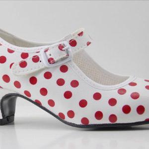 zapato de feria, zapato de flamenca para niña, tacones de gitana, zapatitos de feria, zapato de lunares